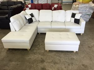 Sofa new white leatherette sectional couch on sealed box unopened unused DELIVERY all areas for Sale in Clackamas, OR