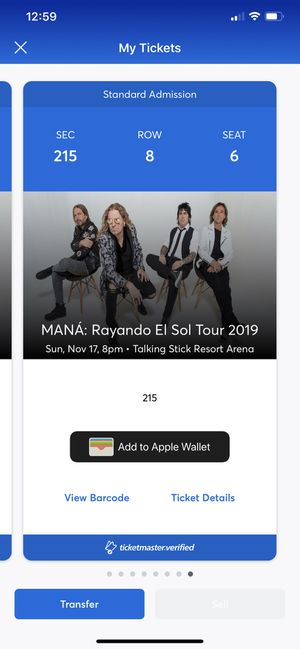 Mana tickets for Sale in Tolleson, AZ
