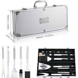 9PCS BBQ Grill Tools Set Stainless Steel Utensils with Aluminium Case Outdoor for Sale in Ontario, CA