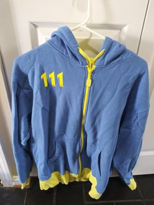 Bethesda Blue and Yellow Fallout 4 Vault 111 Full Zip Long Sleeve Hoodie Mens Sm for Sale in Gaithersburg, MD