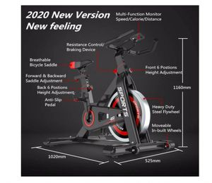 OUNUO Exercise Bikes (2020 New Version), Indoor Cycling Bike, Stationary, Bidirectional Flywheel, Silent Belt Drive, Infinite Resistance for Sale in Rancho Cucamonga, CA
