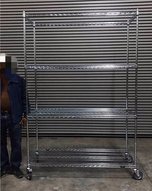 New in box 7.5 feet tall 24x60x90 inches tall 1000 lbs capacity heavy duty pantry garage storage shelf organizer rack with heavy duty locking wheels for Sale in Covina, CA