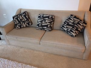 Beige Sofa Couch and 3 throw pillows for Sale in Arlington, VA