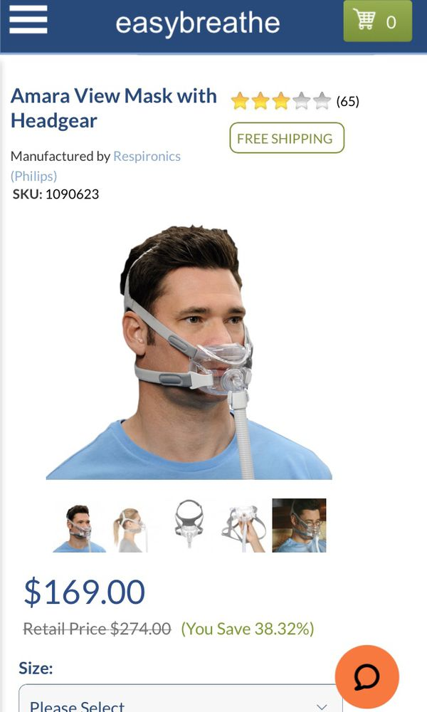 Philips Amara view Minimal contact full face mask