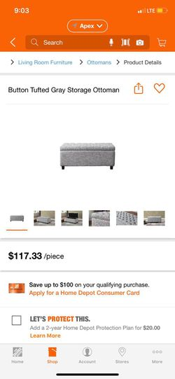 Button Tufted Gray Storage Ottoman for Sale in Apex,  NC