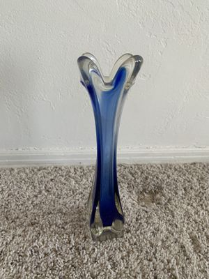 Vintage Glass Skinny Blue Vase for Sale in Los Angeles, CA