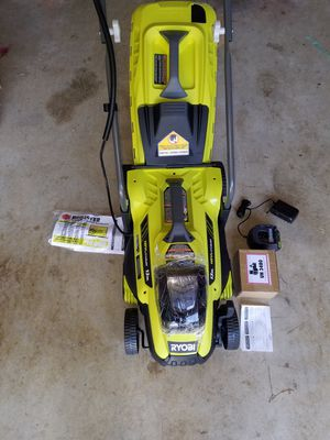 "Cordless Walk Behind Push Lawn Mower Kit 13"" 18V Lit. Battery Ryobi. for Sale in Midlothian, TX"
