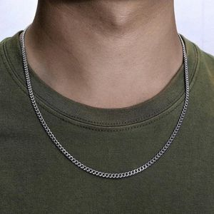 3mm Curb Men's Necklace - Silver Chain Cuban Stainless Steel Jewelry. for Sale in Nashville, TN