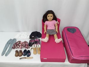 American Girl Doll with bed, clothes, shoes, and carrying backpack for Sale in Houston, TX