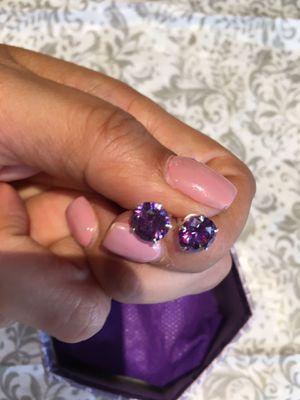 Guaranteed 100 % Mexican Sterling Silver Beautiful earrings pink or purple zircon large earrings $8 each for Sale in Avondale, AZ