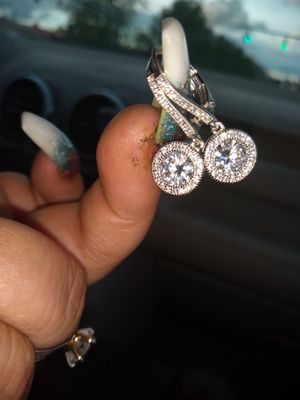 White gold cluster earrings for Sale in Columbus, OH