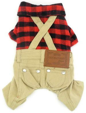 Small Dog Plaid Shirt & Khaki Overall Jumpsuit for Sale in San Jose, CA