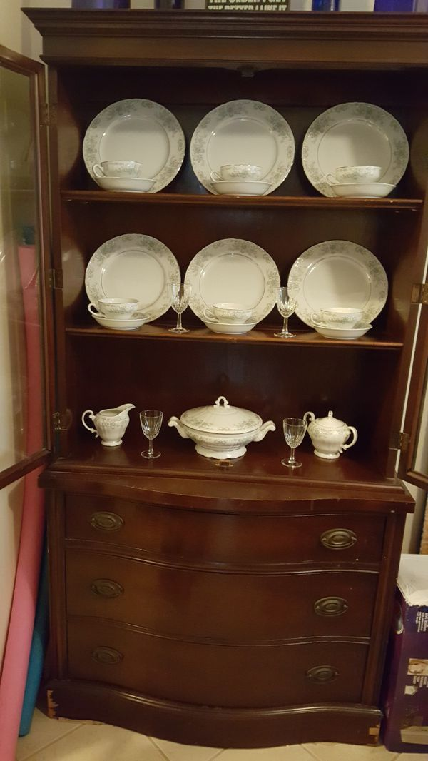 Antique Mahogany China Cabinet with Dishes