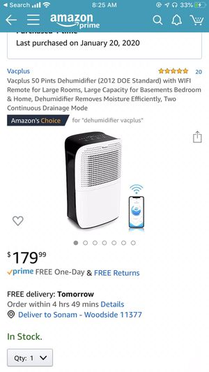 Vacplus 50 Pints Dehumidifier for Sale in Queens, NY