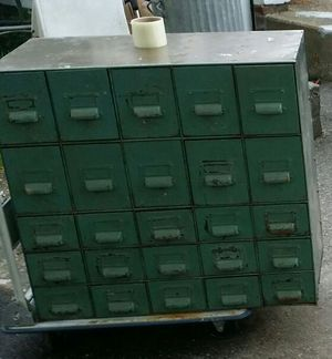 Antique metal Industrial card catalog cabinet for Sale in Billerica, MA