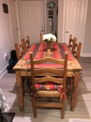 Dining table is rustic wood 67 7/8 L X 35 3/8 W X 29 7/8 H and wood frames $200.00. for Sale in Rancho Santa Margarita, CA