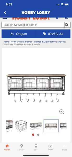 Hanging shelf with hooks and baskets for Sale in Wenatchee, WA