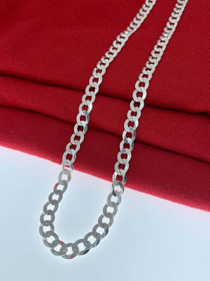 Real Silver/Curb link/925 sterling silver Chain/26 inches long/5.5 mm for Sale in Whittier, CA