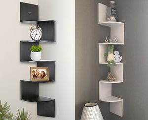 "New $20 each (Black or White) Corner 5-Tiers Wall Mount Zig Zag Wood Shelf Home Furniture 8""x8""x48"" for Sale in South El Monte, CA"
