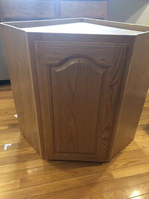 Corner kitchen wall cabinet - oak doors with soft close for Sale in Westford, MA