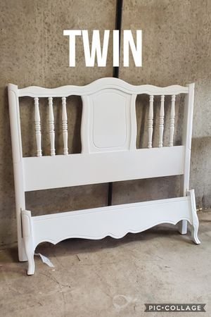 Twin bed frame with rails slats refinished white for Sale in Cedar Hill, TX