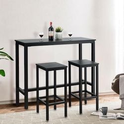 3 Pieces Bar Table Counter Breakfast Bar Dining Table With Stools-Black for Sale in Diamond Bar,  CA