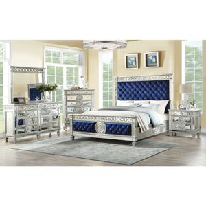 Varian Queen Bed in Mirror Finish & Tufted diamond Blue Velvet bedroom set 4 pc bed frame dresser mirror and 1 nightstand by Acme Financing available for Sale in Miami, FL