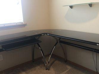 Black Glass L-shaped Desk for Sale in Everett,  WA