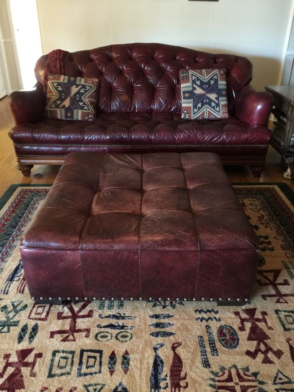 Thomasville Leather button tufted sofa from the British Gentry ...