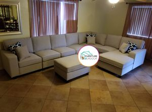 New light grey soft linen fabric modular 8pc large sofa sectional with ottoman and pillows for Sale in Pomona, CA