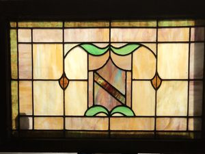 Early 1900's leaded stain glass double hung window frame for Sale in Silver Spring, MD