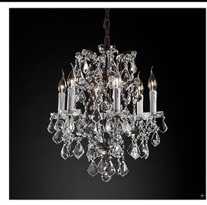 """19TH C. ROCOCO IRON & CLEAR CRYSTAL ROUND CHANDELIER 18"""" for Sale in Atlanta, GA"""
