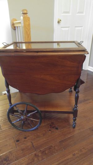 Antique Wood Tea Serving Cart w/ Drop Leaf Table w/ Glass Serving Tray for Sale in Ashburn, VA