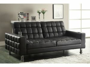 NEW Modern Dark Brown Leather Tufted Sofa Bed Sleeper futon w/ cup holders for Sale in KNG OF PRUSSA, PA