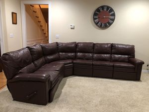 Real Leather Sectional with 2 Recliners for Sale in Tacoma, WA