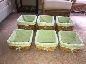 POTTERY BARN KIDS SABRINA BASKETS WITH GINGHAM LINERS NEW for Sale in Oaklandon, IN