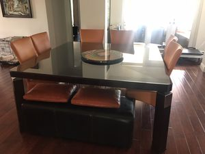 Designer dinning room set. Table with glass cover, 6 chairs and two person bench. Great condition,. for Sale in North Miami Beach, FL