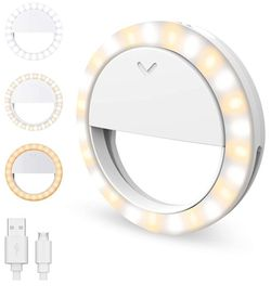 Selfie Ring Light XJ-17 Rechargeable Clip-on live Fill Light for cell phone photography/YouTube live/Video Calling/Makeup, Adjustable Brightness 40 LE for Sale in Houston,  TX