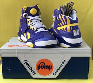 Reebok Shaq Attaq Pump Basketball Shoes Purple Lakers LSU M40343 Size 9. Condition is Pre-owned and in great like new condition with OG box. for Sale in Beverly, NJ