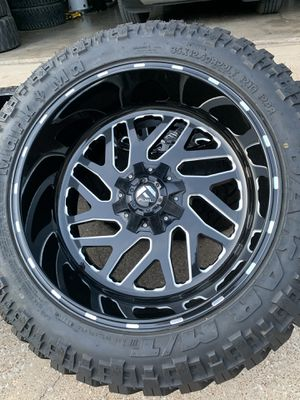22x12 INCH FUEL OFF-ROAD RIMS WITH 35x12.50R22 TIRES for Sale in Arlington, TX