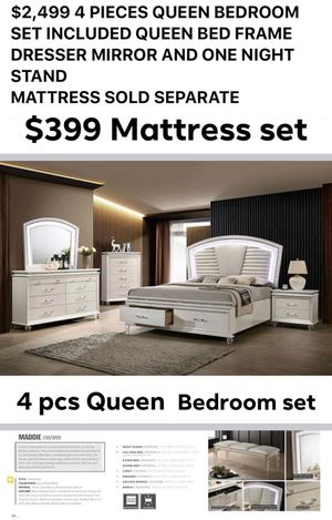 $2,499 4 PIECES QUEEN BEDROOM SET INCLUDED QUEEN BED FRAME DRESSER MIRROR AND ONE NIGHT STAND MATTRESS SOLD SEPARATE for Sale in Chino, CA