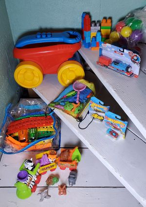 Huge toy bundle Thomas & Friends Hot Wheels Little People Animal Train Dinosaur cars Mega Blocks Rollover wagon Light up car track for Sale in Wyandotte, MI