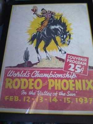 World Championship Rodeo at Phoenix art work poster 1937 for Sale for sale  Phoenix, AZ