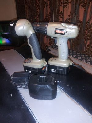 Craftsman 15.6 volt drill and flashlight combo. Has 2 batteries and charger. for Sale in San Bernardino, CA