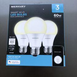 Brand New Merkury Smart Wi-Fi LED Light Bulbs 3pk for Sale in Santa Ana,  CA