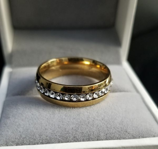 Men/Women 18k Yellow Gold over Stainless Steel CZ Diamond Wedding Band Size 6,7,8,9,10,11,12