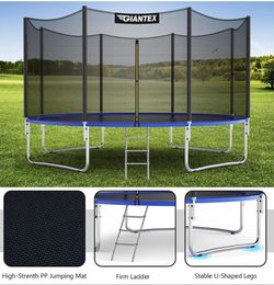 Trampoline, 14Ft Outdoor Trampoline w/Safety Enclosure Net, Ladder, Jumping Mat, Rust-Resistant Poles, Outdoor Backyard Trampoline for for Sale in Hacienda Heights,  CA