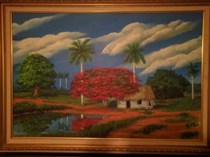 Acrylic painting by famous Cuban painter for Sale in Key Biscayne, FL