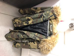 K Zell Camo Winter Jacket with hoodie size 2 for Sale in Las Vegas, NV