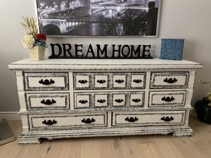 Chalk painted white distressed black gorgeous farmhouse dresser credenza buffet console vanity entryway entry table tv stand for Sale in Peoria, AZ